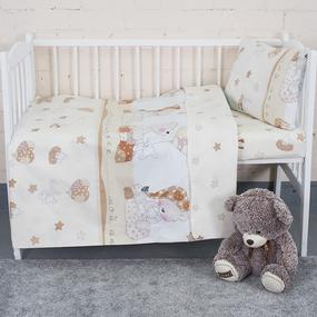 Постельное белье в детскую кроватку из поплина 1636/1 Мой ангелочек бежевый с простыней без резинки фото
