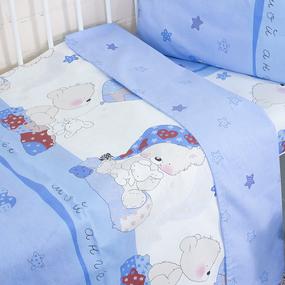 Постельное белье в детскую кроватку 1636/2 Мой ангелочек голубой поплин с простыней без резинки фото