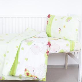 Постельное белье в детскую кроватку 1636/3 Мой ангелочек салатовый поплин с простыней без резинки фото