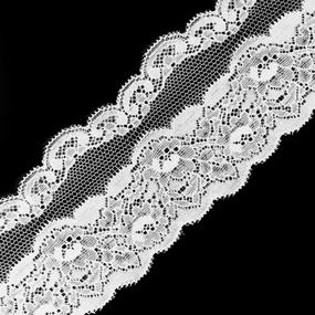 Кружево эластичное 7,5см белый 2267 1м фото