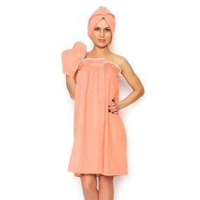 Набор для сауны женский цвет оранжевый фото
