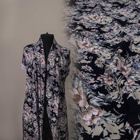 Ткань на отрез штапель 145 см 60037 Цветы на синем фото