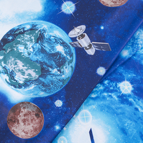 Ткань на отрез поплин 150 см 1716 Космос фото