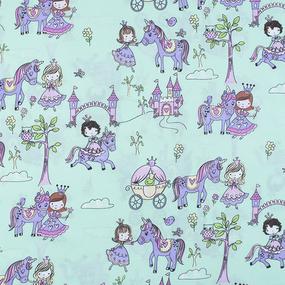Ткань на отрез поплин 150 см 1805/2 Маленькие принцессы цвет мята фото