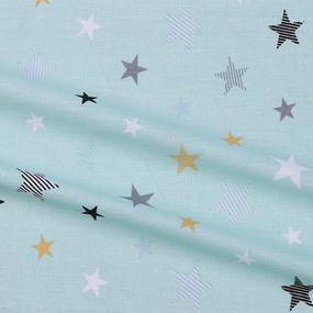 Бязь плательная 150 см 8127/4 Звезды компаньон Мишки (пэчворк) мята фото