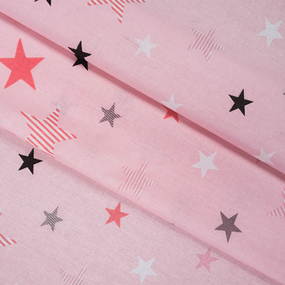 Бязь плательная 150 см 8127/1 Звезды компаньон Мишки (пэчворк) розовый фото