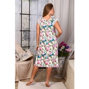 Сорочка Вишенка Вискозаголубо-Розовые Цветы А31 р 60 фото