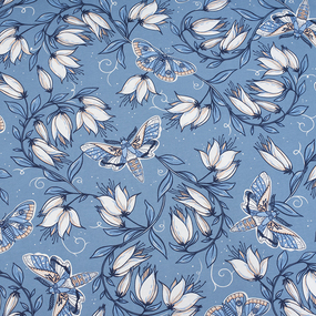 Маломеры кулирка Цветы на голубом R4147-V3 0.3 м фото