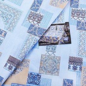 Постельное белье бязь ГОСТ 356/1 Арабеска голубой 1.5 сп с 1-ой нав. 70/70 фото