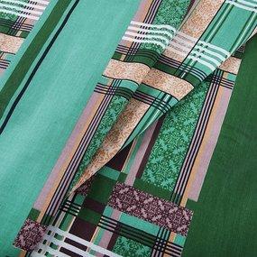 Постельное белье бязь ГОСТ 351/2 Клетка зеленый 1.5 сп с 1-ой нав. 70/70 фото