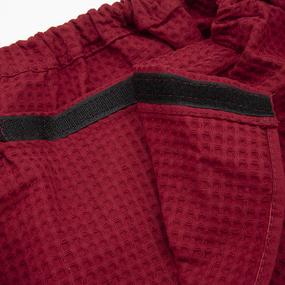 Вафельная накидка на резинке для бани и сауны Премиум мужская с широкой резинкой цвет 066 бордо фото
