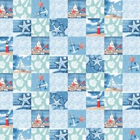Ткань на отрез вафельное полотно набивное 150 см 3012-1 Маяк цвет голубой фото
