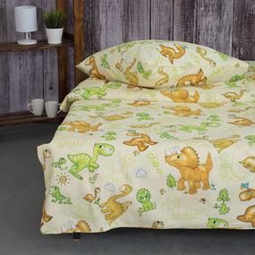 Детское постельное белье из бязи 1.5 сп 203131 Динозаврики 1 зел с 1-ой нав. 70/70 фото
