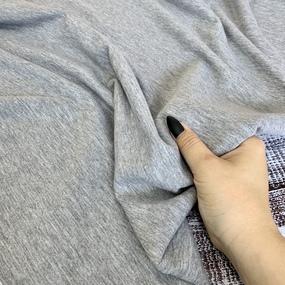 Ткань на отрез футер с лайкрой 1643 цвет серый меланж фото
