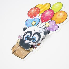 Нашивка панда в коробке с воздушными шарами 3D 13,5*20см фото