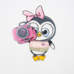 Нашивка Пингвиненок с фотоаппаратом 3D 17*14см фото