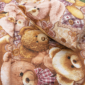 Детское постельное белье из бязи 1.5 сп 195151 Мишкины друзья 1 беж фото