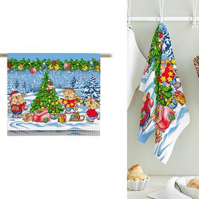 Полотно вафельное 50 см набивное арт 60 Тейково рис 5649 вид 1 Новогодние радости фото