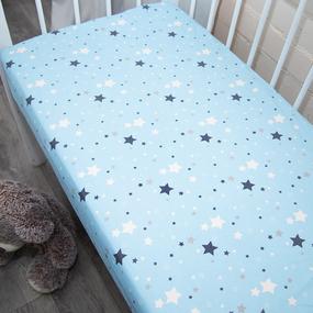 Простыня на резинке бязь детская 0421/1 цвет голубой 80/160/15 см фото