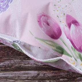 Наперник Тик кант молния Цветы 005 розовый 50/70. фото