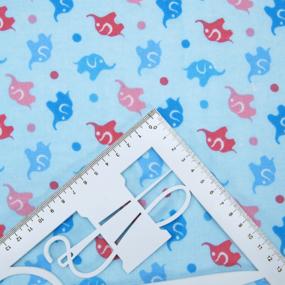 Ткань на отрез фланель 90 см 5849/2 Слоники цвет голубой фото
