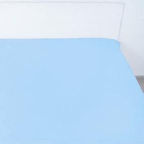 Простынь на резинке поплин цвет голубой 140/200/20 см фото