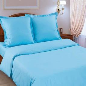 Простынь на резинке поплин цвет голубой 180/200/20 см фото
