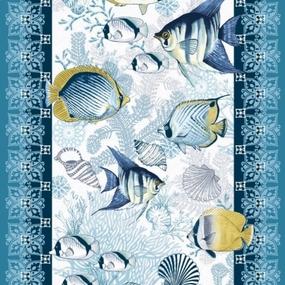 Ткань на отрез вафельное полотно 50 см 5619/1 Рыбки фото