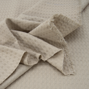 Ткань на отрез вафельное полотно гладкокрашенное 150 см 240 гр/м2 7х7 мм цвет бежевый фото