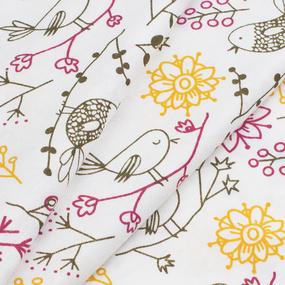 Ткань на отрез кулирка Птички 3320-V1 фото