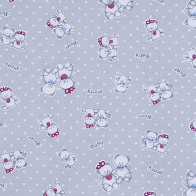 Ткань на отрез кулирка Мишка 4082-V1 цвет серый фото