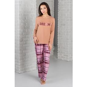 Комплект блуза + брюки 0828 цвет Бежевый р 46 фото