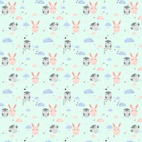 Ткань на отрез фланель 75 см 9855/2 Зайка и сова цвет мята фото
