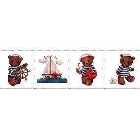 Ткань на отрез перкаль детский 150/37.5 см 01 Мишка-морячок фото
