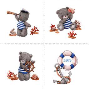 Ткань на отрез перкаль детский 150/37.5 см 07 Мишка-морячок фото
