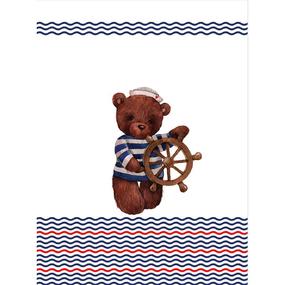 Ткань на отрез перкаль детский 112/150 см 04 Мишка-морячок со штурвалом цвет белый фото