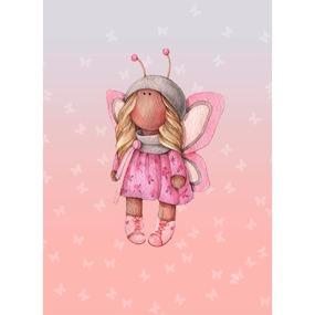 Ткань на отрез перкаль детский 112/150 см 05 Миланья с крыльями цвет розовый фото