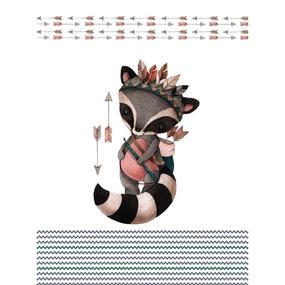 Ткань на отрез перкаль детский 112/150 см 07 Енот-охотник фото