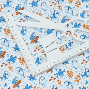 Ткань на отрез ситец 95 см 20023/1 Акулы фото