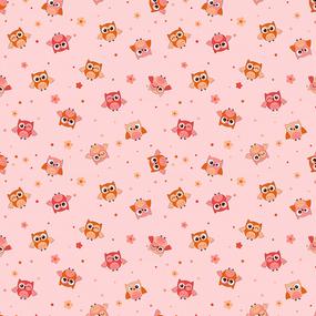 Ткань на отрез фланель грунт 75 см 5225/3 Совушки цвет розовый фото