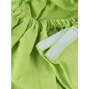 Вафельная накидка на резинке для бани и сауны женская цвет лайм фото