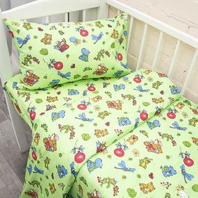 Наволочка бязь детская 383/2 Зоопарк цвет зеленый 40/60 см фото