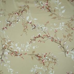 Ткань на отрез шелк 150 см D1807 Цветы на бежевом фото