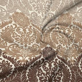 Ткань на отрез бязь Премиум 220 см 6280/1 Дамаск цвет коричневый фото