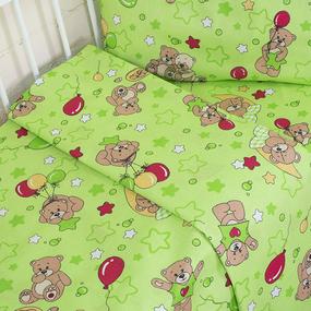Постельное белье в детскую кроватку 350/2 Мишки зеленый с простыней на резинке фото