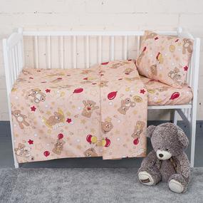 Постельное белье в детскую кроватку 350/4 Мишки бежевый с простыней на резинке фото