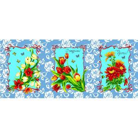 Набор вафельных полотенец 3 шт 50/60 см 549/1 Март цвет синий фото