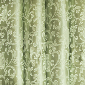 Мерный лоскут портьерная ткань 150 см 6 цвет зеленый вензель фото