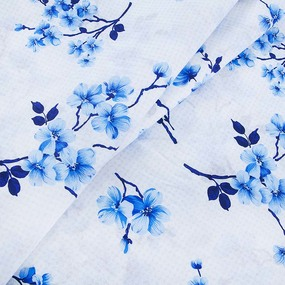 Ткань на отрез бязь 120 гр/м2 220 см 5204/1 Сакура цвет голубой фото