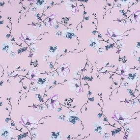Ткань на отрез кулирка карде Цветы на розовом R6078-V3 фото